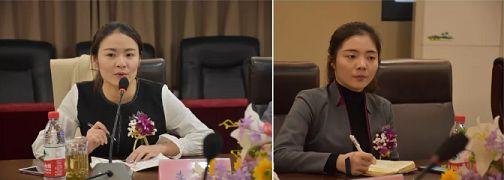李沛老师(左一)、罗子璇老师(左二)听课题答辩者汇报并做记录